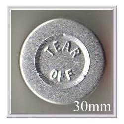 30mm Center Tear Vial Seals, Natural Silver, pk 250
