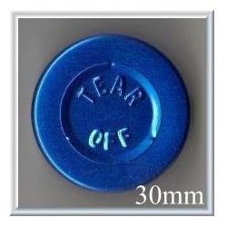 30mm Center Tear Vial Seals, Sapphire Blue, pk 250