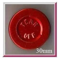 30mm Center Tear Vial Seals, Red, pk 250
