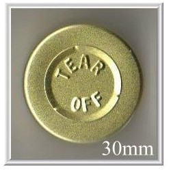 30mm Center Tear Vial Seals, Gold, pk 250