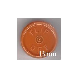 13mm Flip Off Vial Seals, Rust Orange, Pack of 100