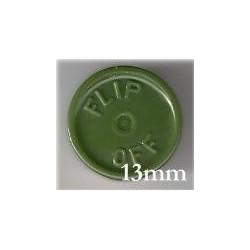 13mm Flip Off Vial Seals, Avocado Green, Pk 100
